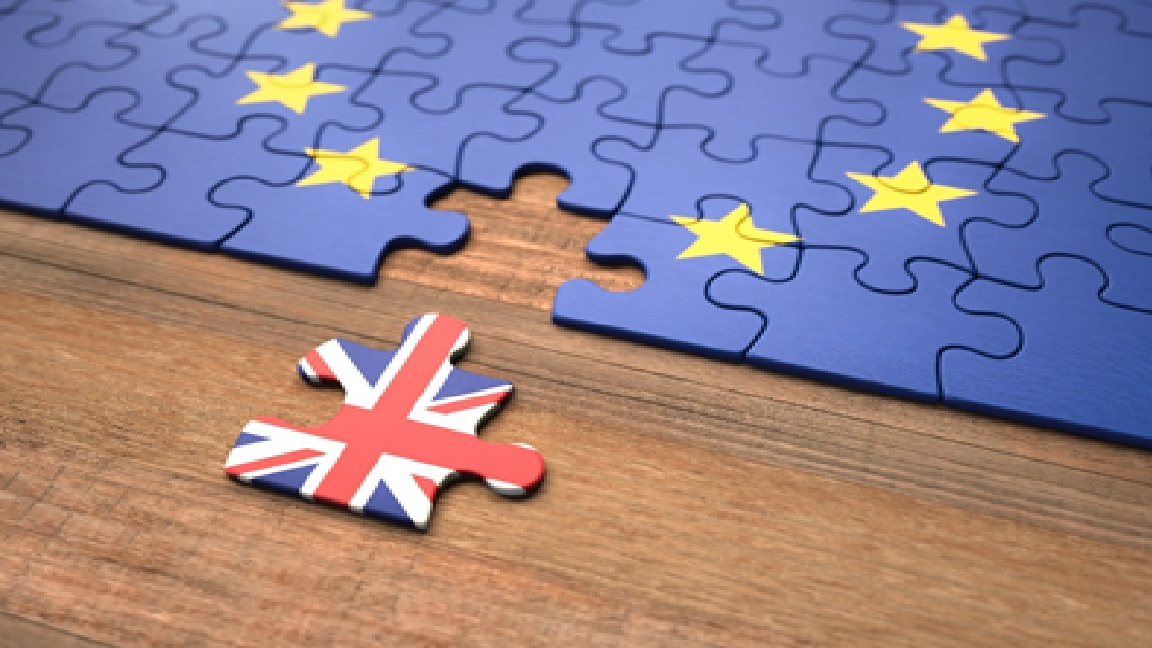 Brexit Jigsaw showing UK and EU flag